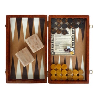 Mid-Century Modern Backgammon Set W/ Bakelite Pieces & Travel Case For Sale