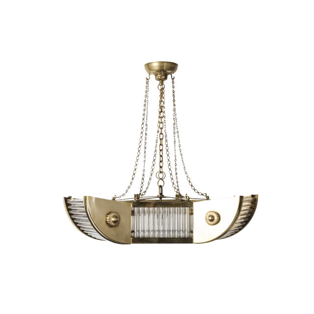 Luxe French Art Deco Brass And Glass Tubes Chandelier For Sale