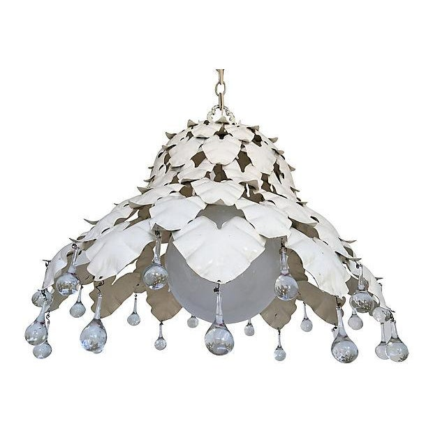 Large and lovely 1950s garden leaf pendant light in its original creamy white finish. Airy design features layered heart-...