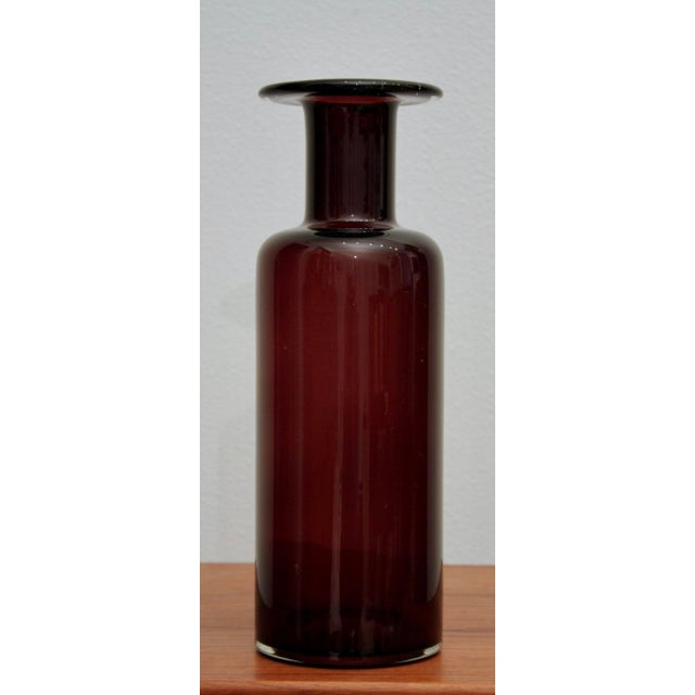 "Large 12 3/4"" Cranberry Glass Vase in the Style of Holmegaard Gulvase - Image 3 of 8"