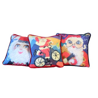 Santa Velvet Holiday Pillows, Feather Down - Set of 3, Last Call! For Sale