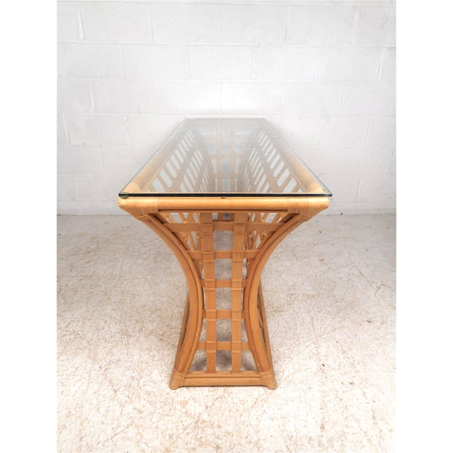 Late 20th Century Vintage Modern Bamboo and Glass Console Table For Sale - Image 5 of 12