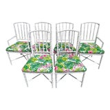 Image of Set 6 Palm Beach Regency Faux Bamboo White Gloss Tropical Print Dining Room Chairs For Sale