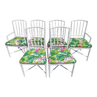 Set 6 Palm Beach Regency Faux Bamboo White Gloss Tropical Print Dining Room Chairs For Sale