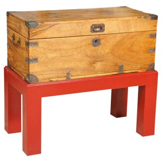 Anglo-Indian Teak Trunk on Red Lacquer Stand For Sale