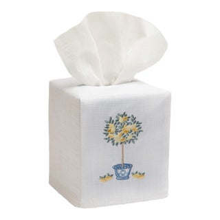 Lemon Topiary Tree Tissue Box Cover White Linen & Cotton, Embroidered For Sale