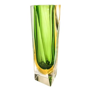 Murano Sommerso Green Cut Glass Vase