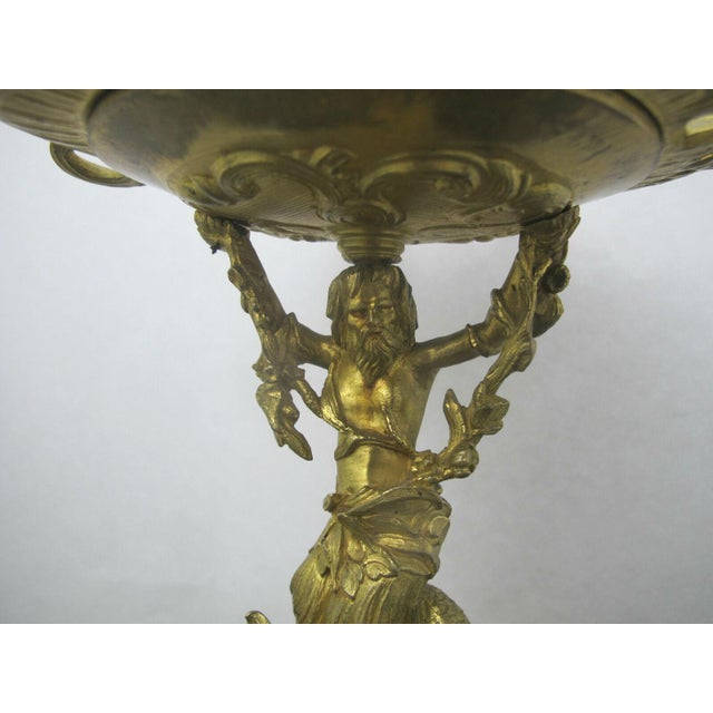 Gold Antique 19th C. French Gilt Ormolu Bronze Neptune Poseidon Candle Card Holders - a Pair For Sale - Image 8 of 13
