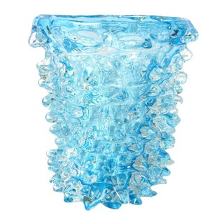 Italian Murano Aquamarine Rostrato Glass Vase by Maestro Camozzo For Sale