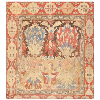 Antique 18th Century Smyrna Turkish Oushak Rug For Sale