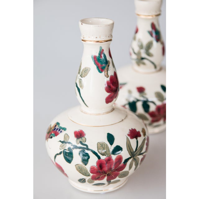Antique Italian Floral & Butterflies Double Gourd Vases - a Pair For Sale - Image 4 of 9