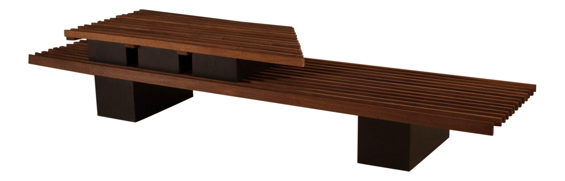 Vintage Mid Century Two Tier Studio Slat Bench / Coffee Table