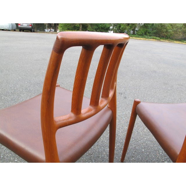 1970s 1970s Vintage Danish Modern Teak Moller 83 Dining Chairs- Set of 6 For Sale - Image 5 of 7