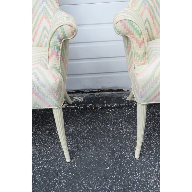 Vintage Painted Tall Pair of Living BedRoom Fireplace Side Chairs For Sale In Miami - Image 6 of 13