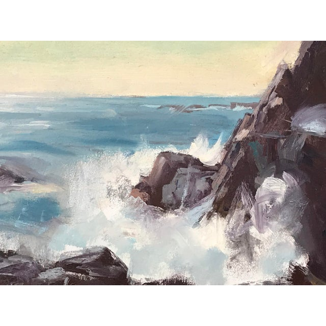 1960s Vintage American Impressionist Oil Painting Seascape by Harry Barton For Sale - Image 5 of 9