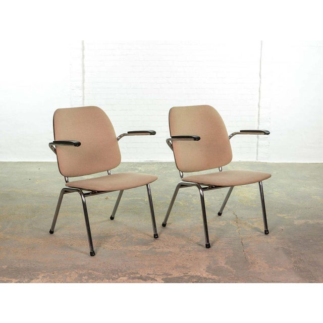 Mid-Century Modern Mid-Century Dutch Design Armchairs on a Chrome Steel Tubular Frame by Martin de Wit for Gispen, 1960s For Sale - Image 3 of 7