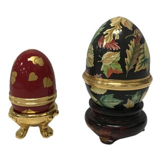 Tiffany & Co. Halcyon Days Enamel Eggs - a Pair For Sale