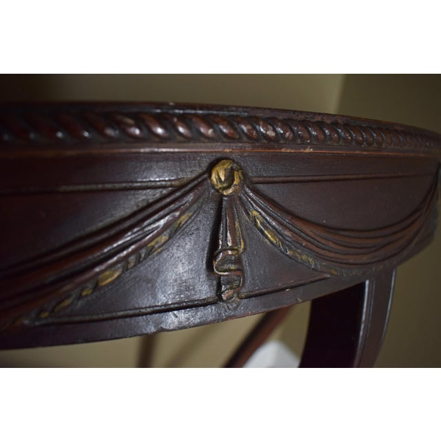 Antique Wall-Mounted Demi-Lune Table, Carved Mahogany With Gilt Accents - Image 5 of 9