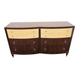 Caracole Dresser W/ 8 Drawers, Leather Wrapped Top Drawers For Sale