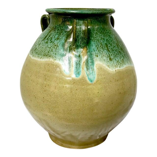 Large Studio Pottery Drip Glazed Floor Urn For Sale