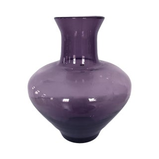 Large Mulberry Blenko Glass Vase For Sale