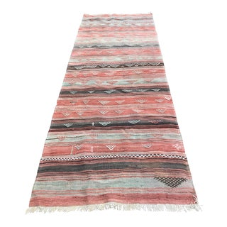 Vintage Striped Woven Anatolian Kilim Runner - 3′1″ × 8′1″-Muted Colors-Pink Rug-Boho Chic Long Rug-Mid Century Modern Style Accent Rug-Bohemian Rug For Sale