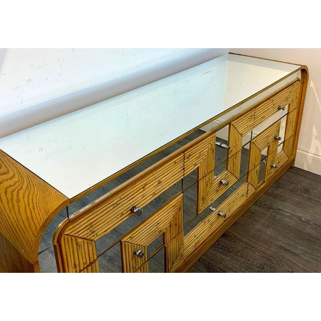 Fabulous Midcentury Mirror Inlaid Segmented Bamboo Dresser or Credenza For Sale In West Palm - Image 6 of 12