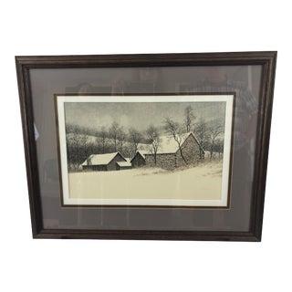 Peter Keating Original Wintry Watercolor Painting For Sale