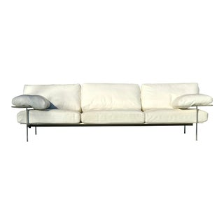 1970s Vintage Antonio Citterio for B & B Italia White Leather Diesis Sofa For Sale