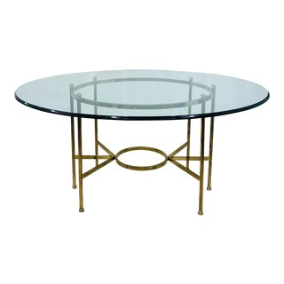 Vintage Brass & Glass Table For Sale