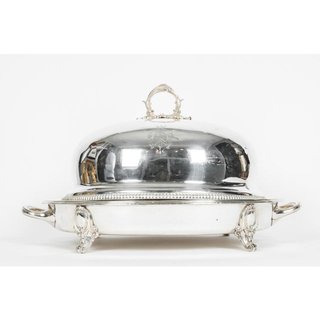 English silver plate / copper two piece venison dish with covered Dome by Wilkinson & Roberts. The pieces are in excellent...