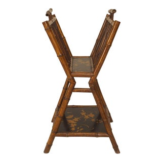 19th Century English Parcel Lacquered Bamboo Magazine Rack For Sale