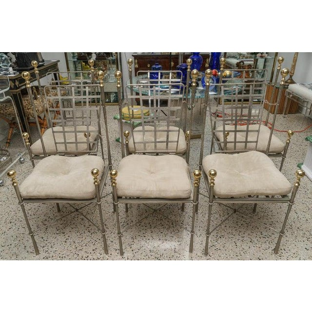 Campaign Style Dining Indoor/Outdoor Chairs in Steel and Brass by Mario Papison for Salterini - a Set of 6 For Sale - Image 13 of 13