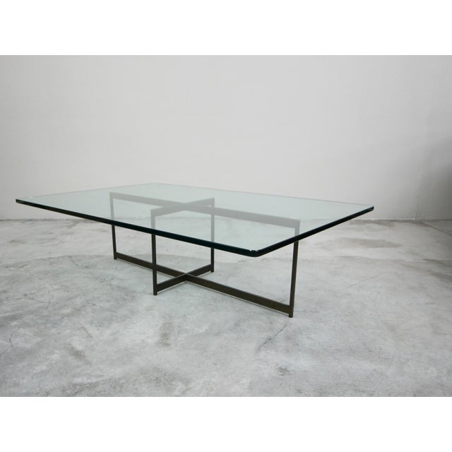 Mid Century Minimalist Italian Bronze Base Coffee Table For Sale - Image 10 of 10
