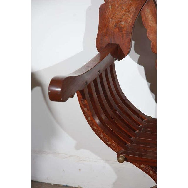 Moorish Syrian Brass Inlaid Armchair For Sale In Los Angeles - Image 6 of 8