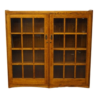 "Mission Style Shin Lee Solid Oak 63"" Display Curio Cabinet/Bookcase For Sale"