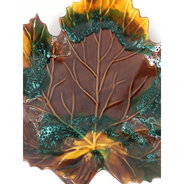 1960s Mid Century 1960's Vintage Vallauris Leaf Shaped Serving Dish For Sale - Image 5 of 6