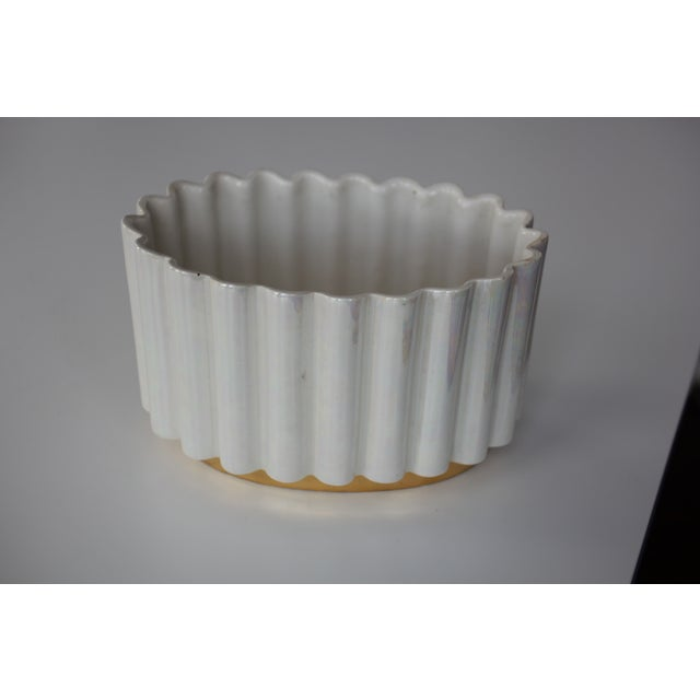 White and Gold Luster Mid-Century Ceramic Planter - Image 3 of 4