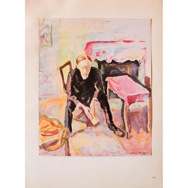 "Green 1948 Othon Friesz, Original Period Lithograph ""Portrait De Fernand Fleuret"" For Sale - Image 8 of 8"