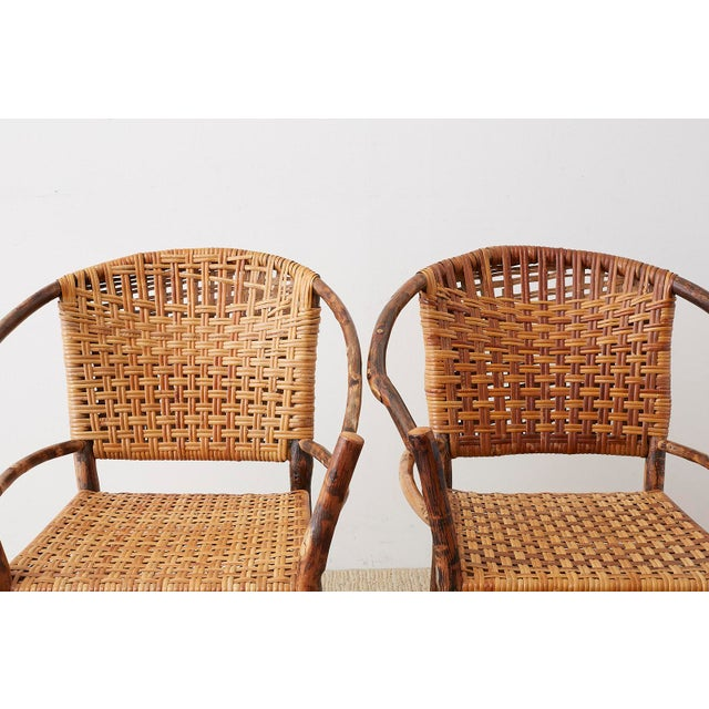 Early 20th Century Set of Six Old Hickory Twig Hoop Adirondack Armchairs For Sale - Image 5 of 13