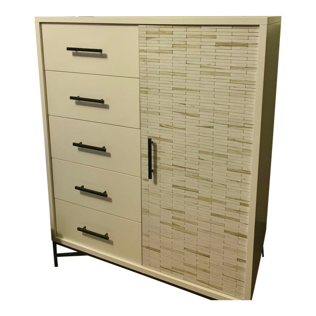 West Elm Wood Tiled Chiffonier For Sale