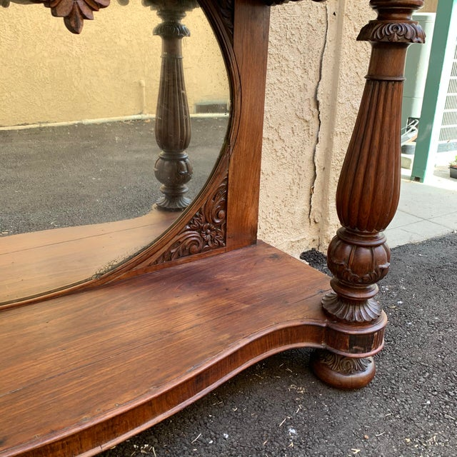Brown Late 19th Century Victorian Entry Table Console With Marble Top For Sale - Image 8 of 11