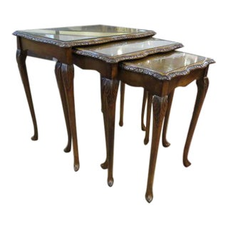 Antique French Carved Walnut Nesting Tables - Set of 3 For Sale
