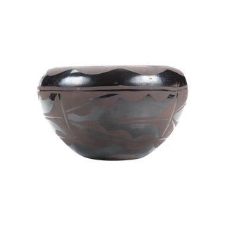 Native American Vintage Blackware Pueblo Bowl For Sale