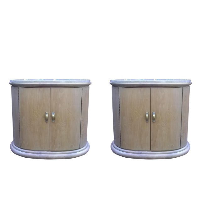 Art Deco Modern Wood Travertine Cabinets - A Pair - Image 1 of 8