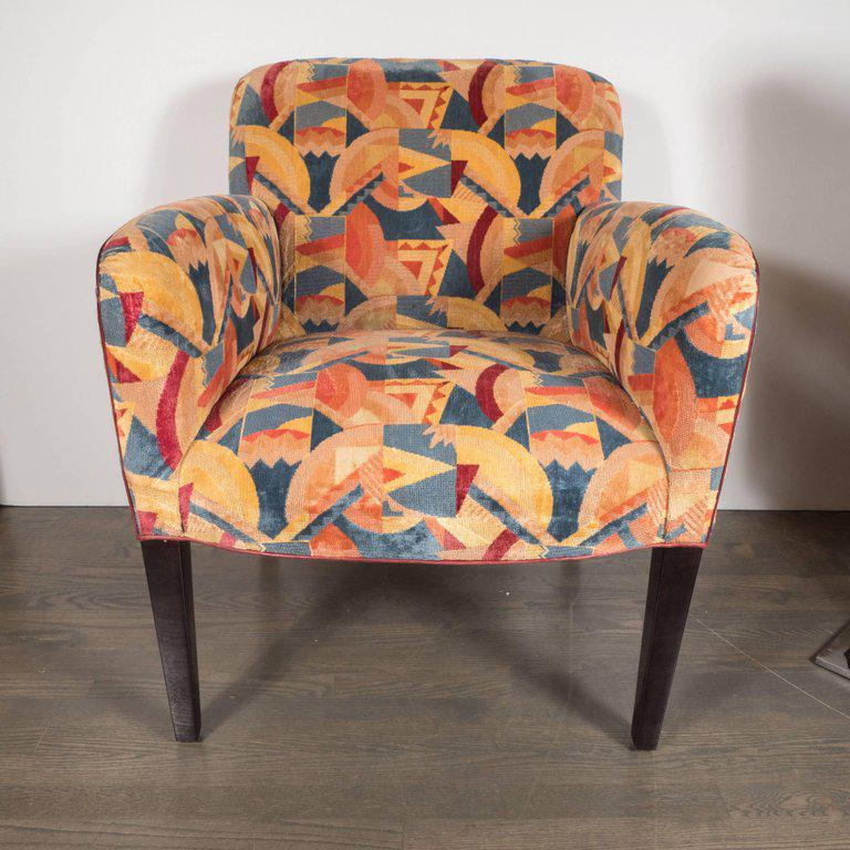 Pair Of Donghia Armchairs In Vibrant Cubist Fabric By Clarence House    Image 3 Of 11
