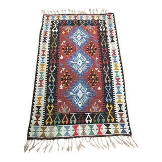 "Vintage Anatolian Kilim - 5'8"" X 3'7"" For Sale"