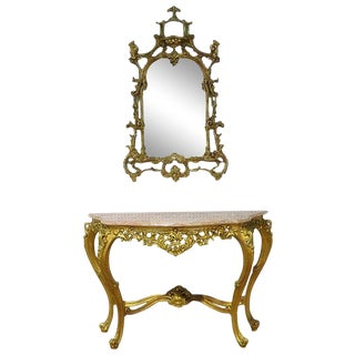 20th Century Italian Marble Top Console With Mirror - 2 Pieces For Sale