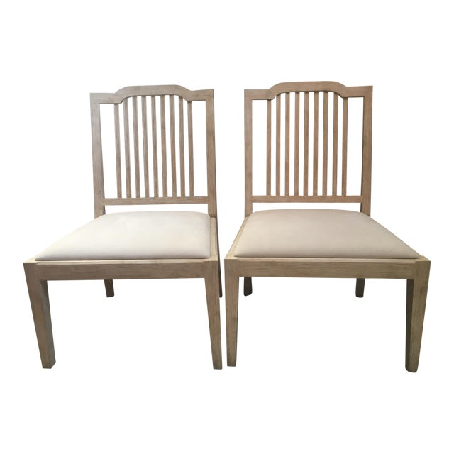 David Iatesta Georgetown Ivory Suede & Maple Wood Side Chairs - A Pair For Sale