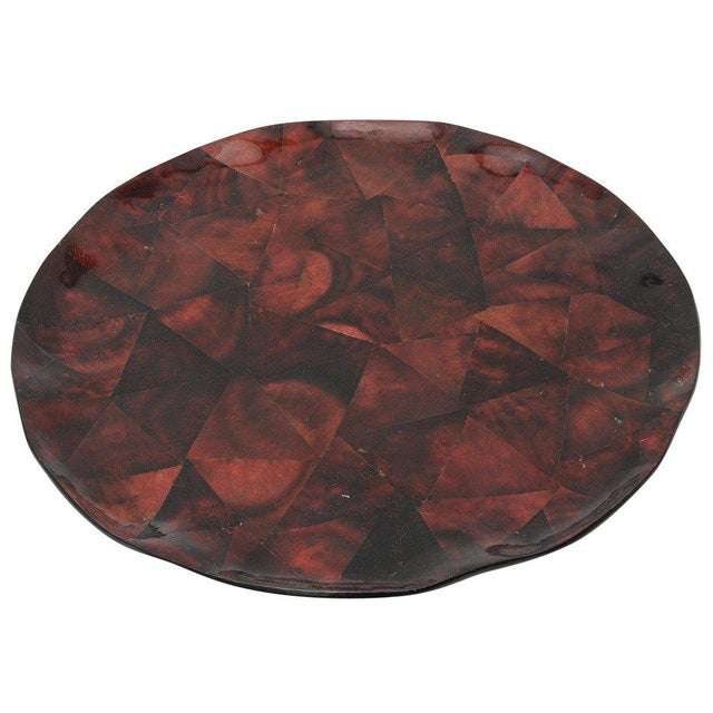 1970s Boho Chic Maitland Smith Tesselated Coconut Shell Tray For Sale - Image 11 of 11